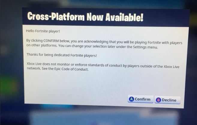 can you play cross platform fortnite