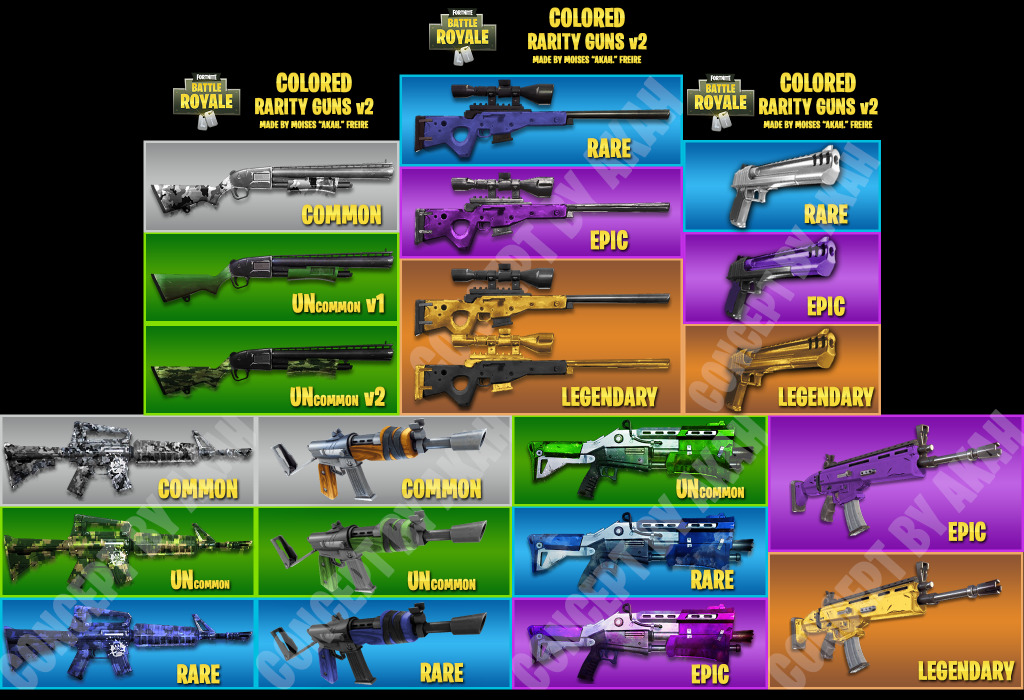 Colored Rarity Guns Fortnite Insider