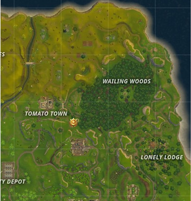 Search between a Stone Circle, Wooden Bridge, and a Red RV Location Fortnite Week 10 Challenges
