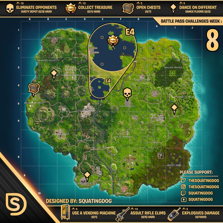 Cheat Sheet For Season 3 Week 8 Challenges Fortnite Insider