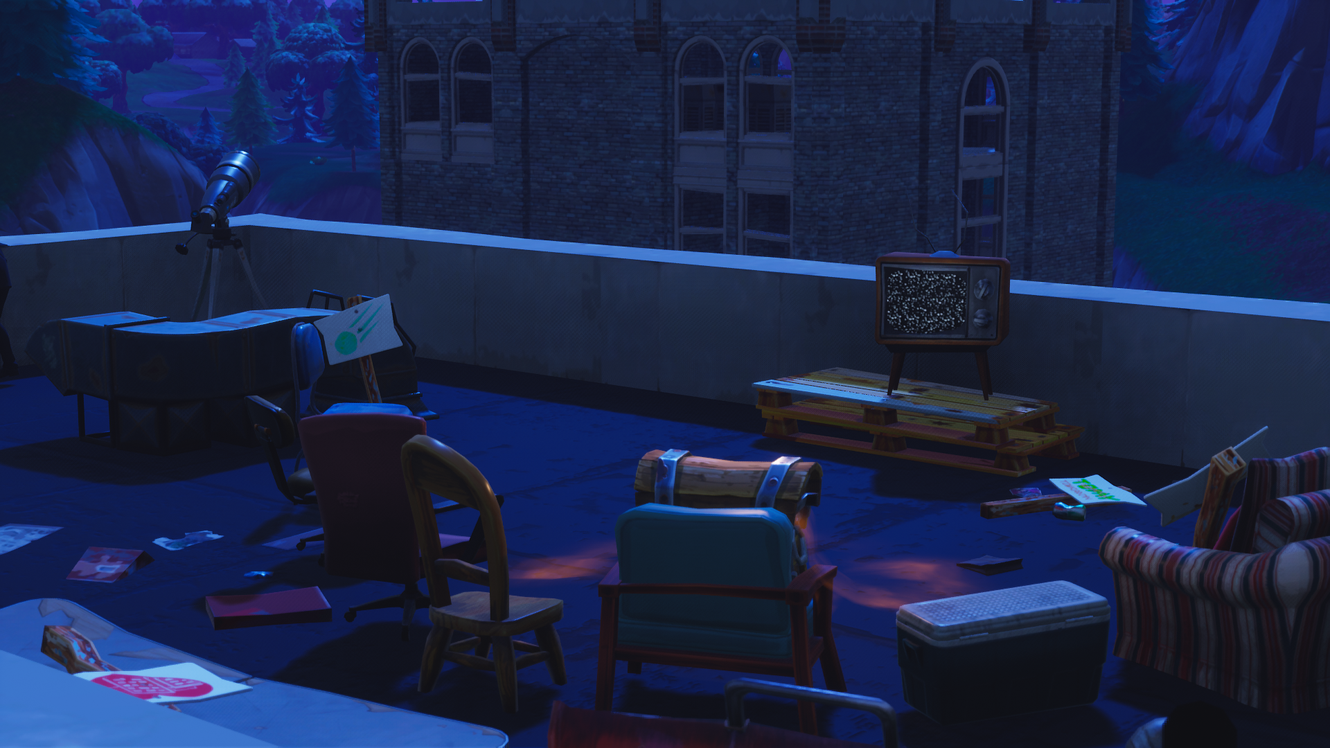 roof in tilted towers fortnite battle royale