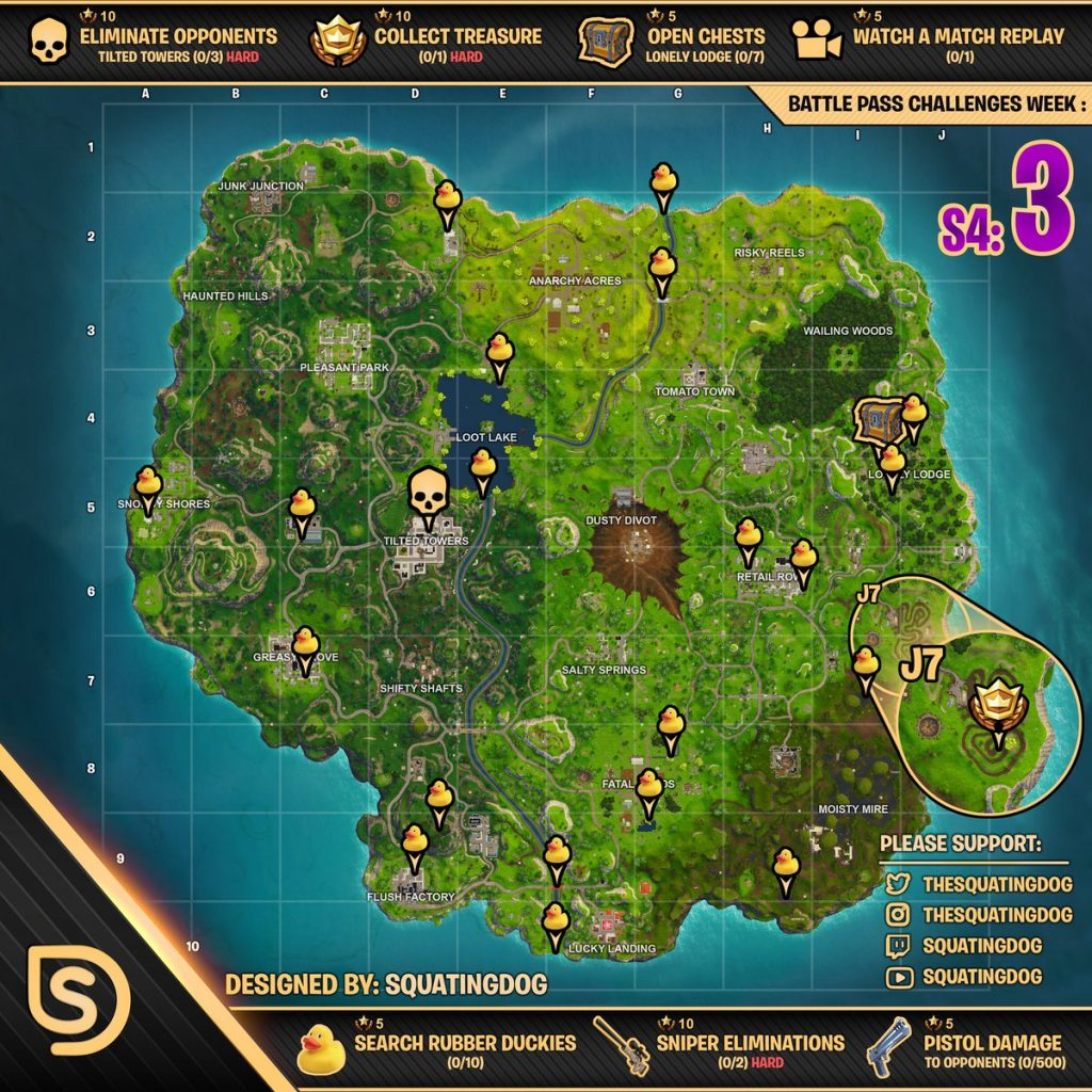 Cheat Sheet for Fortnite Battle Royale Season 4 Week 3