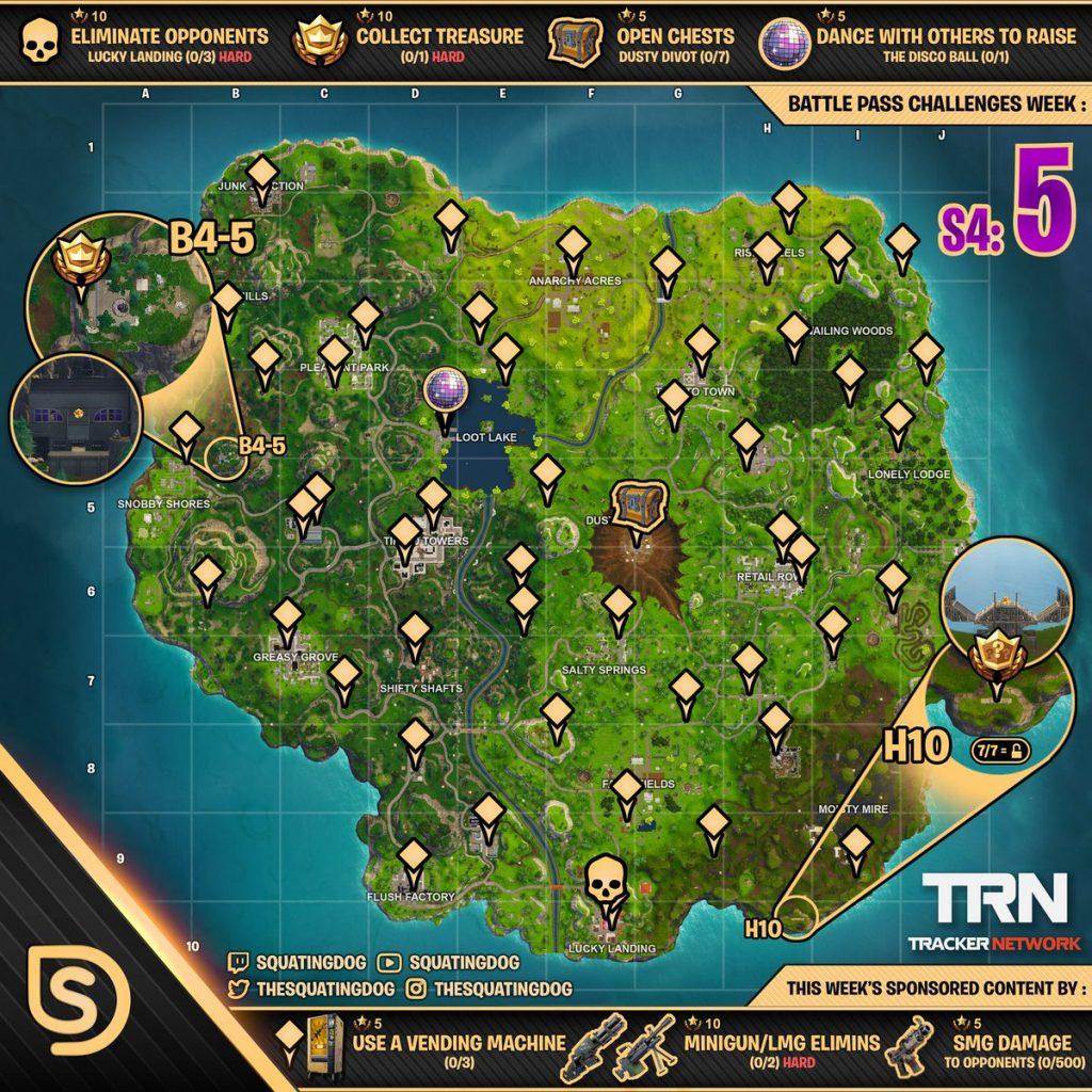 Cheat Sheet Map For Fortnite Battle Royale Season 4 Week