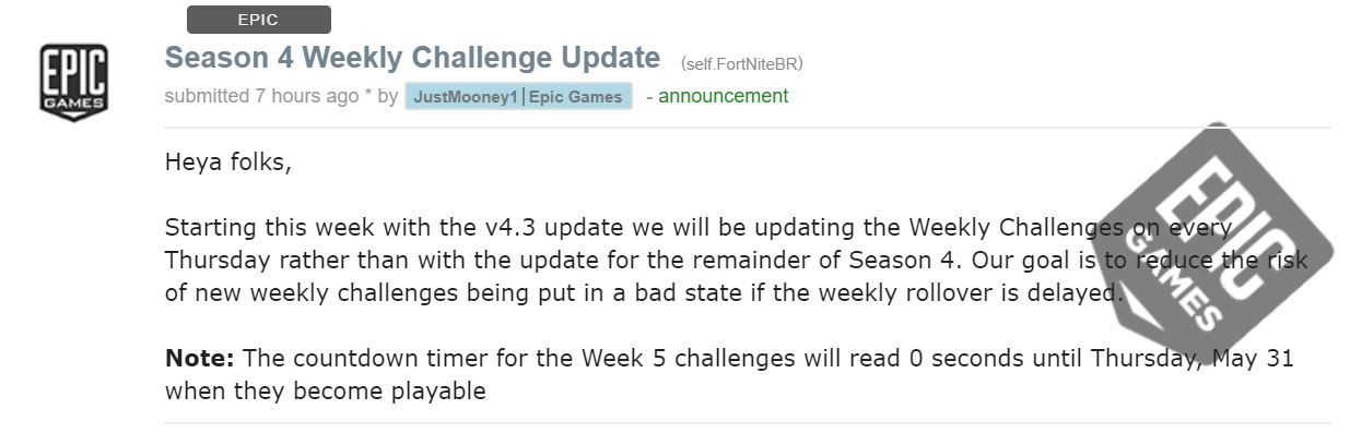 Epic Reddit Post on Challenges Delay in Fortnite Battle Royale