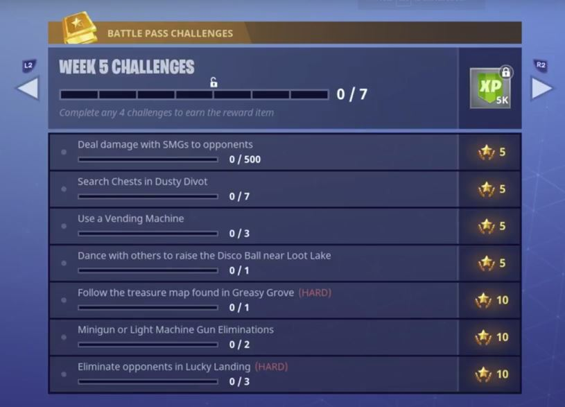 Fortnite Battle Royale - Season 4, Week 5 Challenges