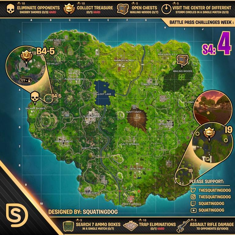 Cheat Sheet For Fortnite Battle Royale Season 4 Week 4 Fortnite