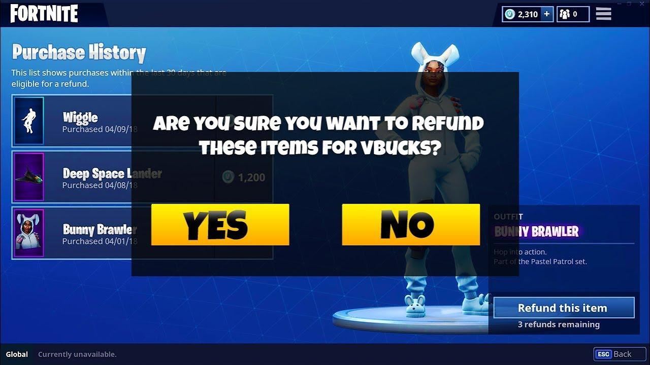 Fortnite Self Refund System
