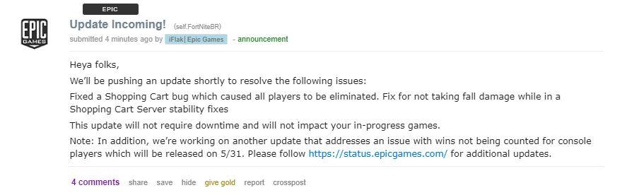 Fortnite bug fixes
