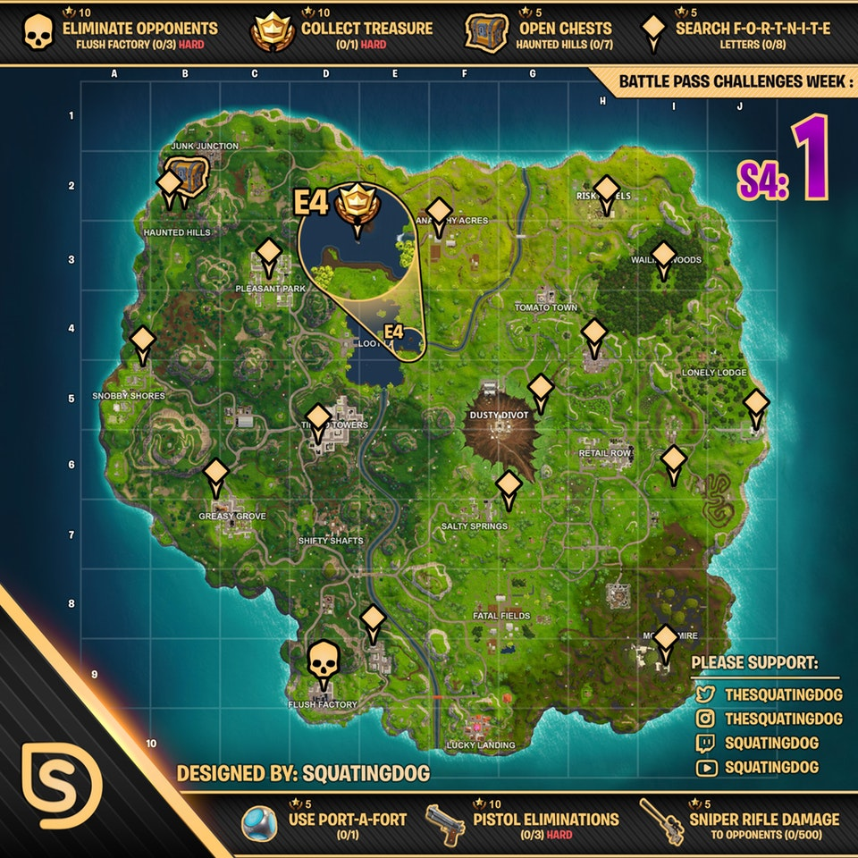 Cheat Sheet For Fortnite Battle Royale Season 4 Week 1 Fortnite