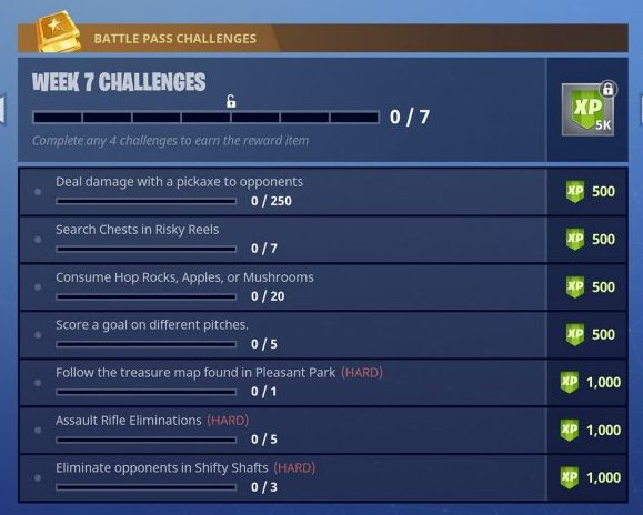 Fortnite Battle Royale Season 4 Week 7 Challenges