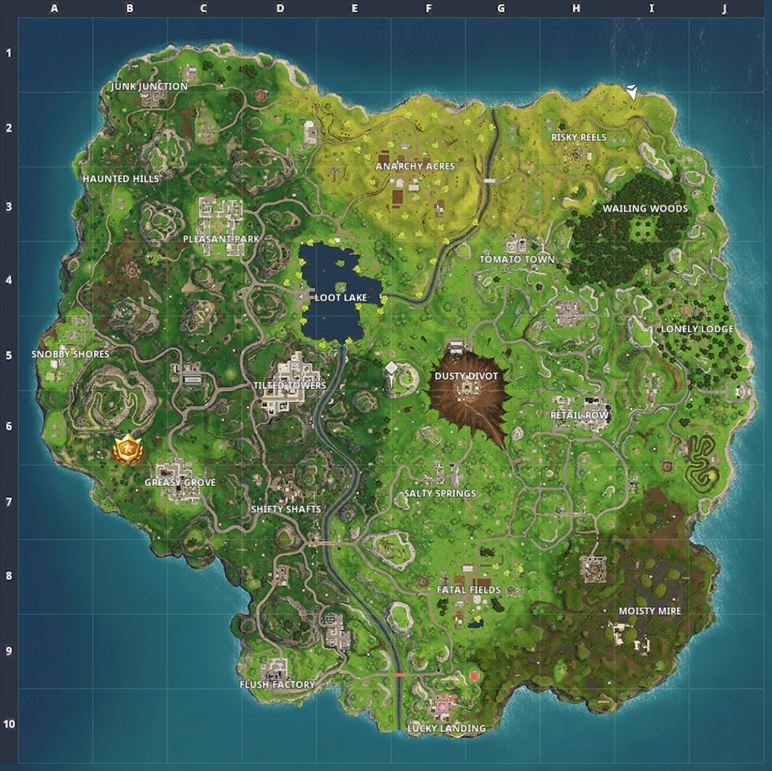 Search between a Playground, Campsite and a Footprint Battle Star Map Location