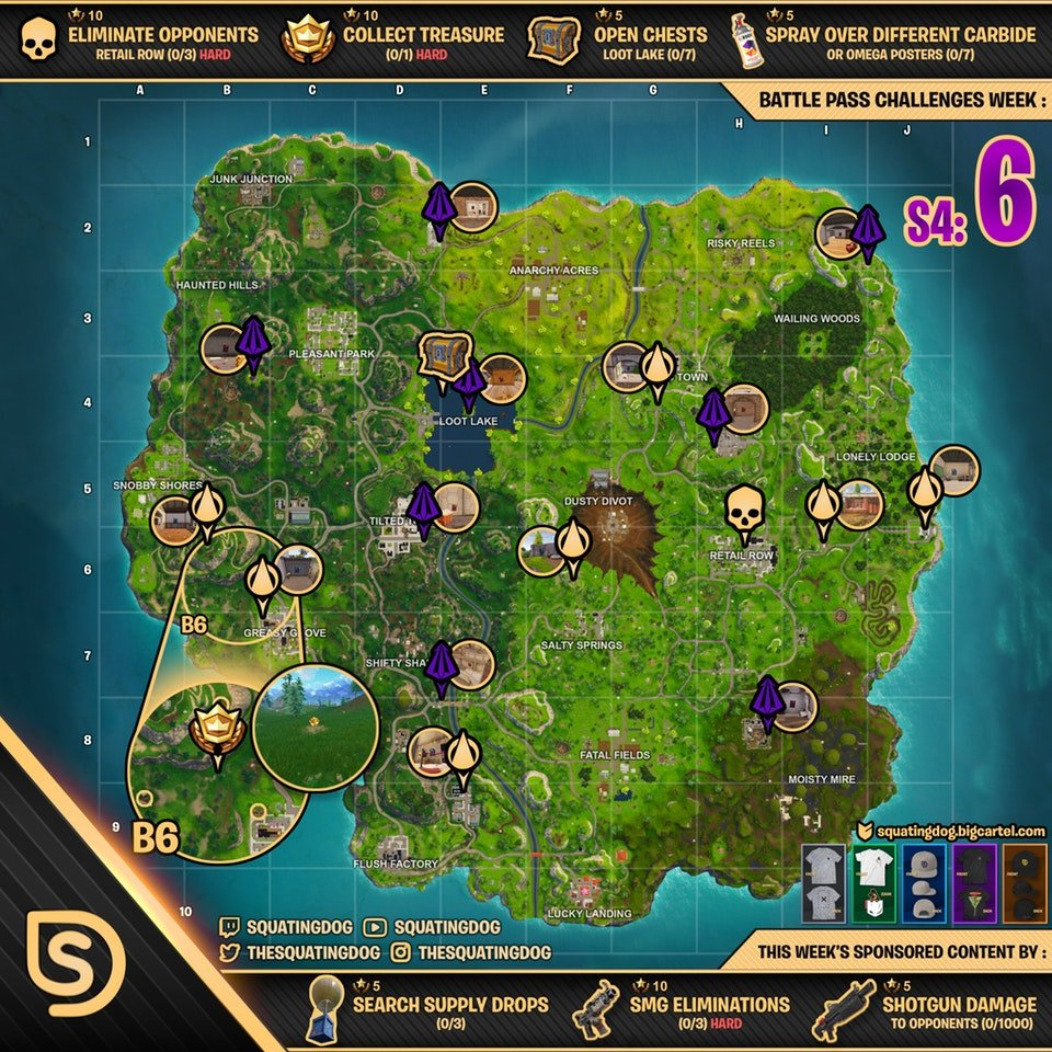 Cheat Sheet Map For Fortnite Battle Royale Season 4 Week 6