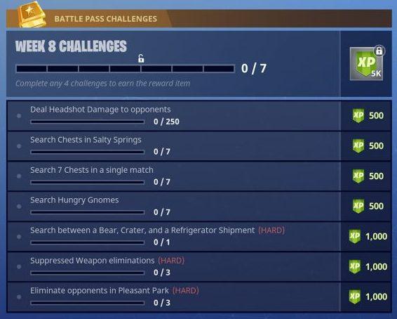 Season 4, Week 8 Fortnite Battle Royale Challenges