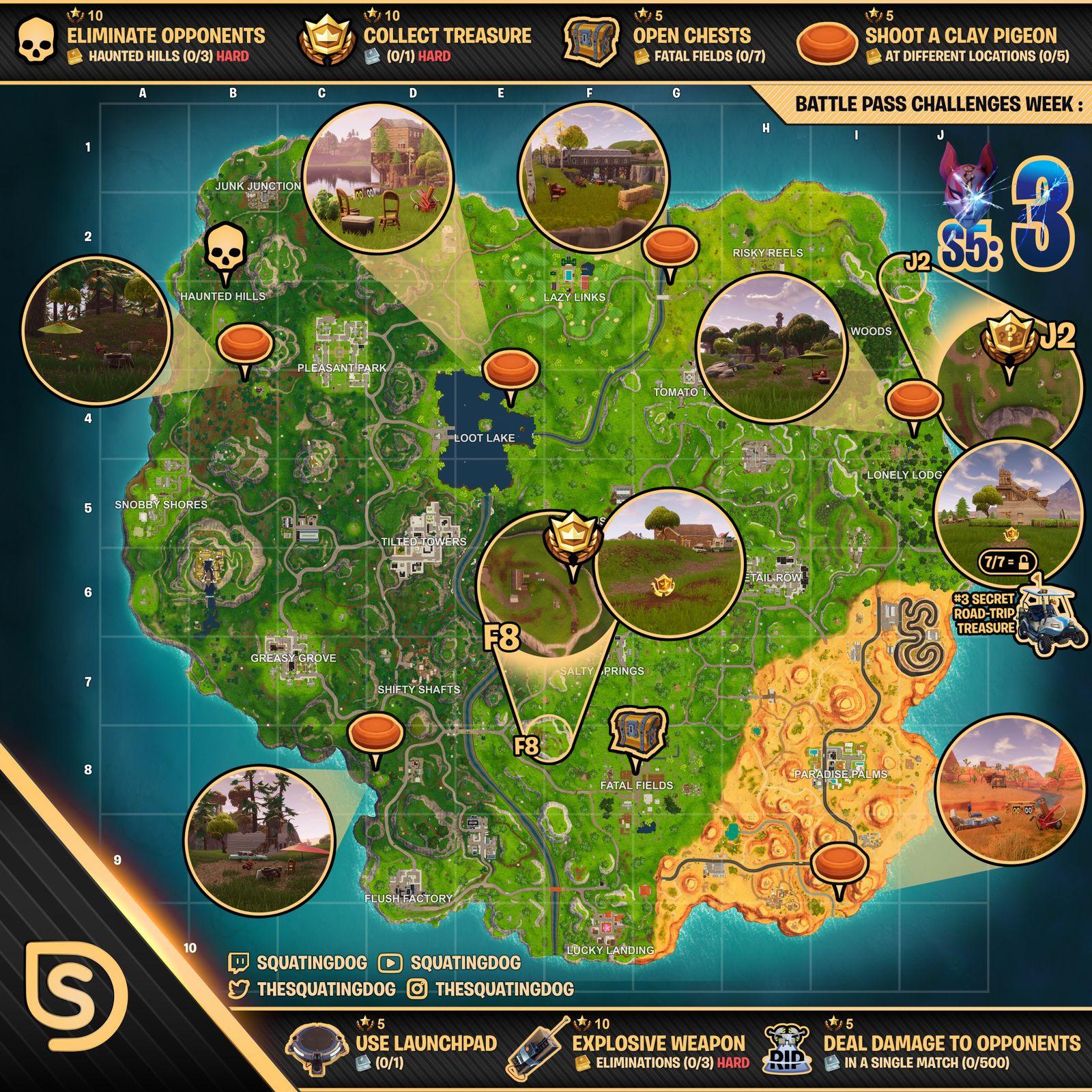 Cheat Sheet Map for Fortnite Battle Royale Season 5, Week 3 ...