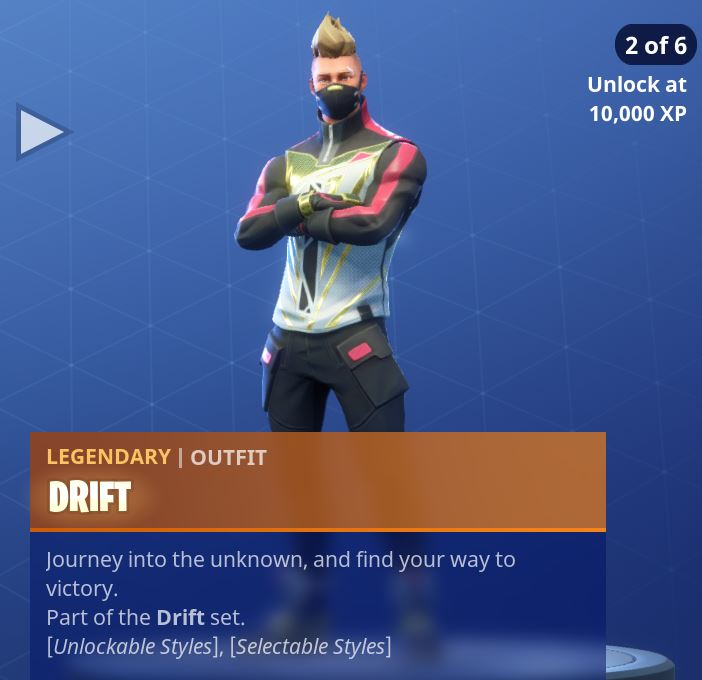 Fortnite Season 5 Battle Pass Tier 1 Drift Skin/Outfit Style 2