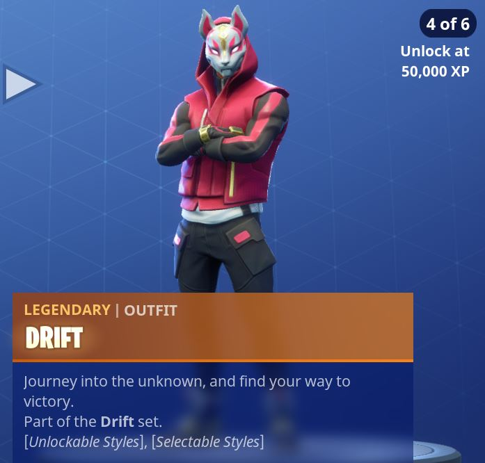 Fortnite Season 5 Battle Pass Tier 1 Drift Skin/Outfit Style 4