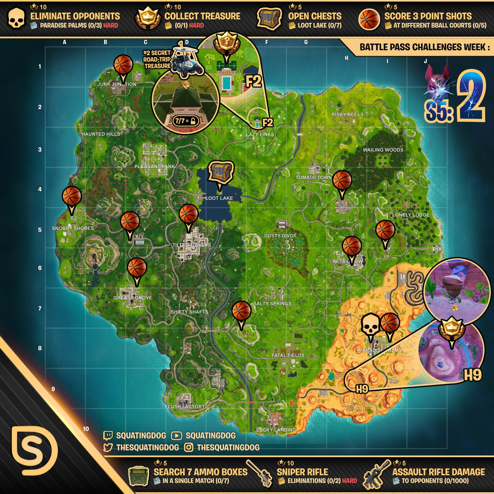 Cheat Sheet Map for Fortnite Battle Royale Season 5, Week ...