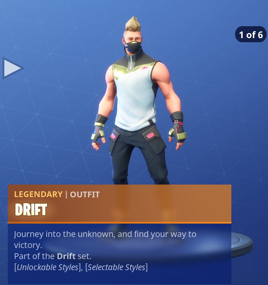 Fortnite Season 5 Battle Pass Tier 1 Drift Skin/Outfit Style 1