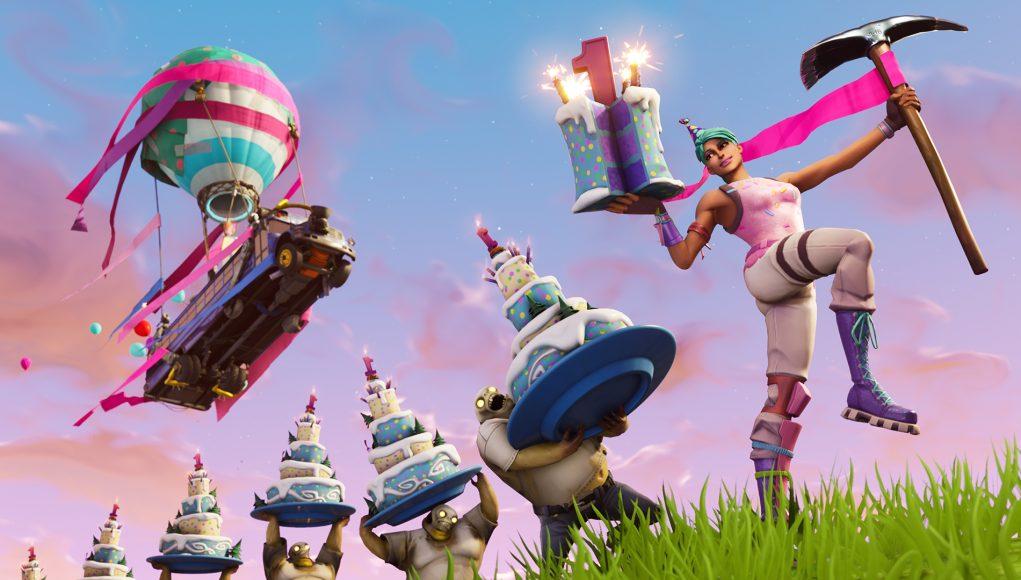 Fortnites 1st Birthday Celebration Cake Back Bling
