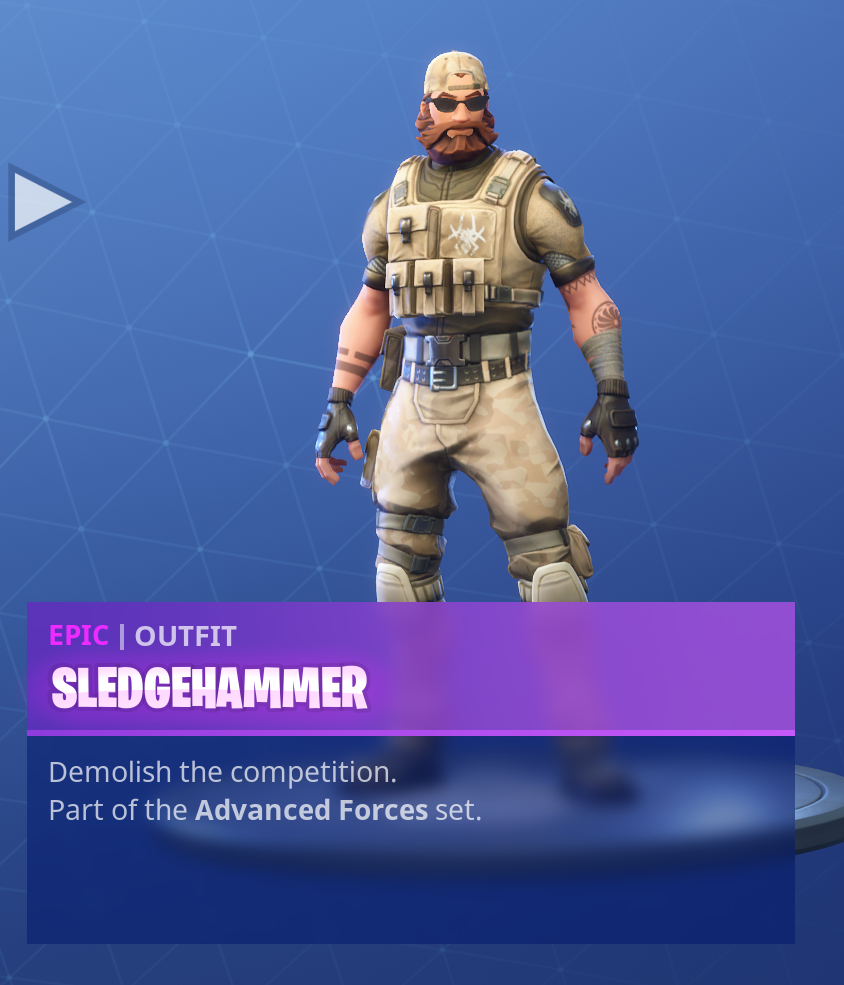 Fortnite Season 5 Battle Pass Tier 71 Sledgehammer Skin/Outfit
