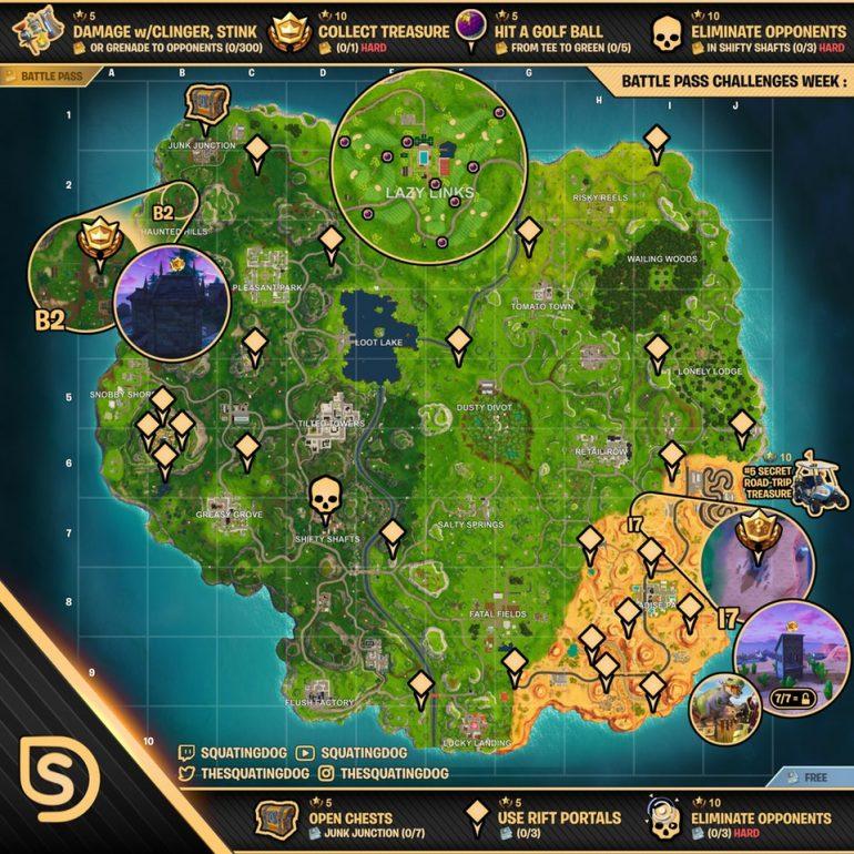 Cheat Sheet Map For Fortnite Battle Royale Season 5 Week
