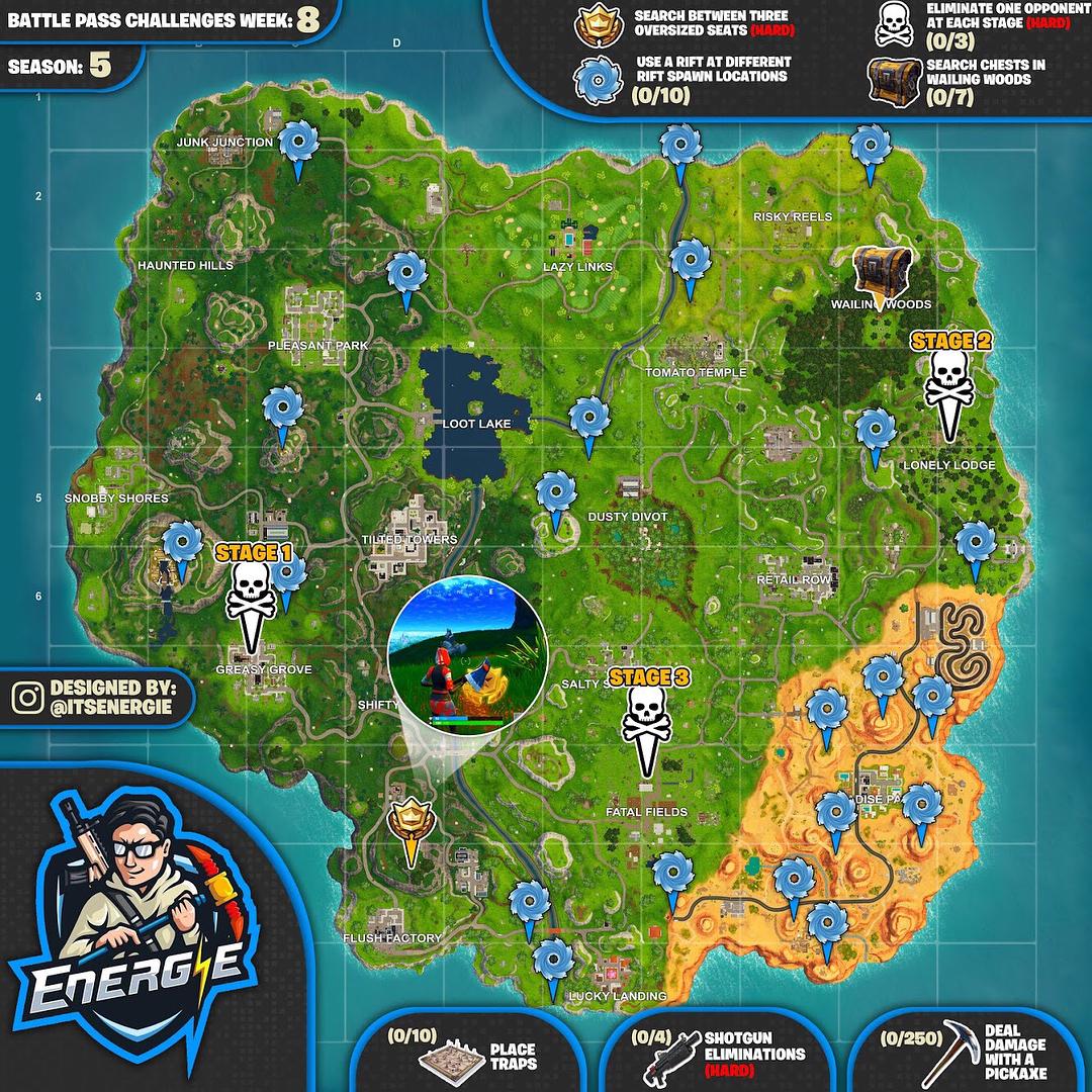 Cheat Sheet Map For Fortnite Challenges Season 5 Week 8 Fortnite