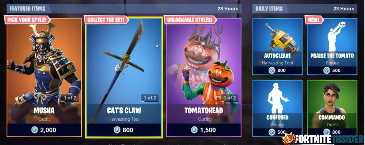 fortnite item shop featured daily items 23rd august 24th august - item shop today on fortnite