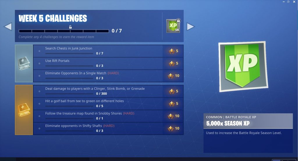 Fortnite Season 5 Week 5 Challenges