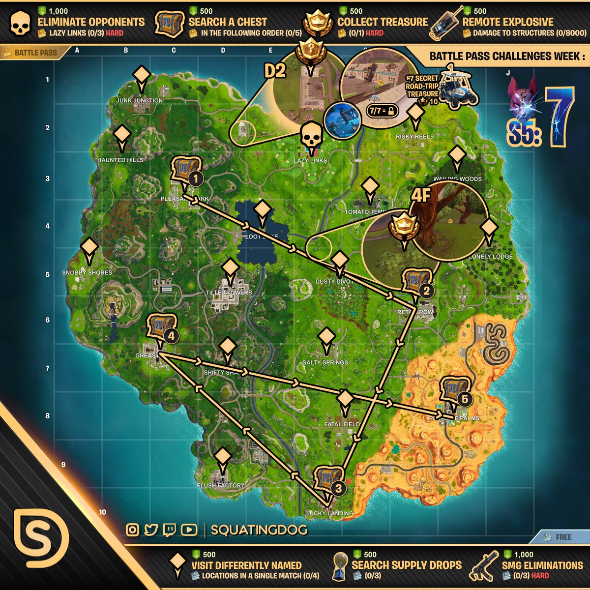 Cheat Sheet Map For Fortnite Battle Royale Season 5 Week 7