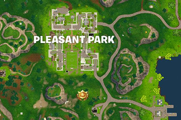 Search between a gas station, soccer pitch, and Stunt Mountain Battle Star Exact Location