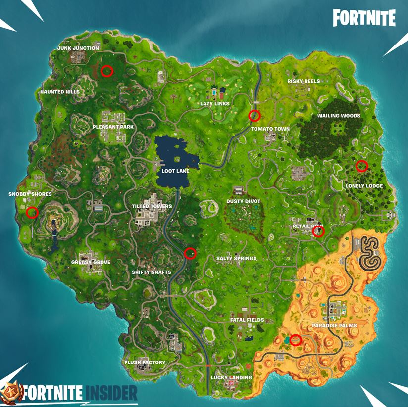 Timed Trial locations on Fortnite Map