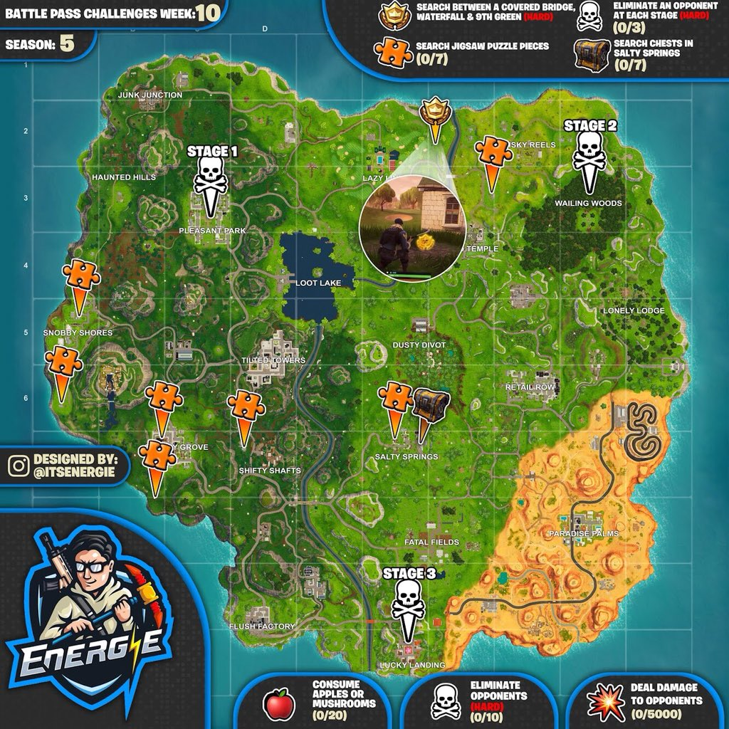 Cheat Sheet Map For Fortnite Battle Royale Season 5 Week 10