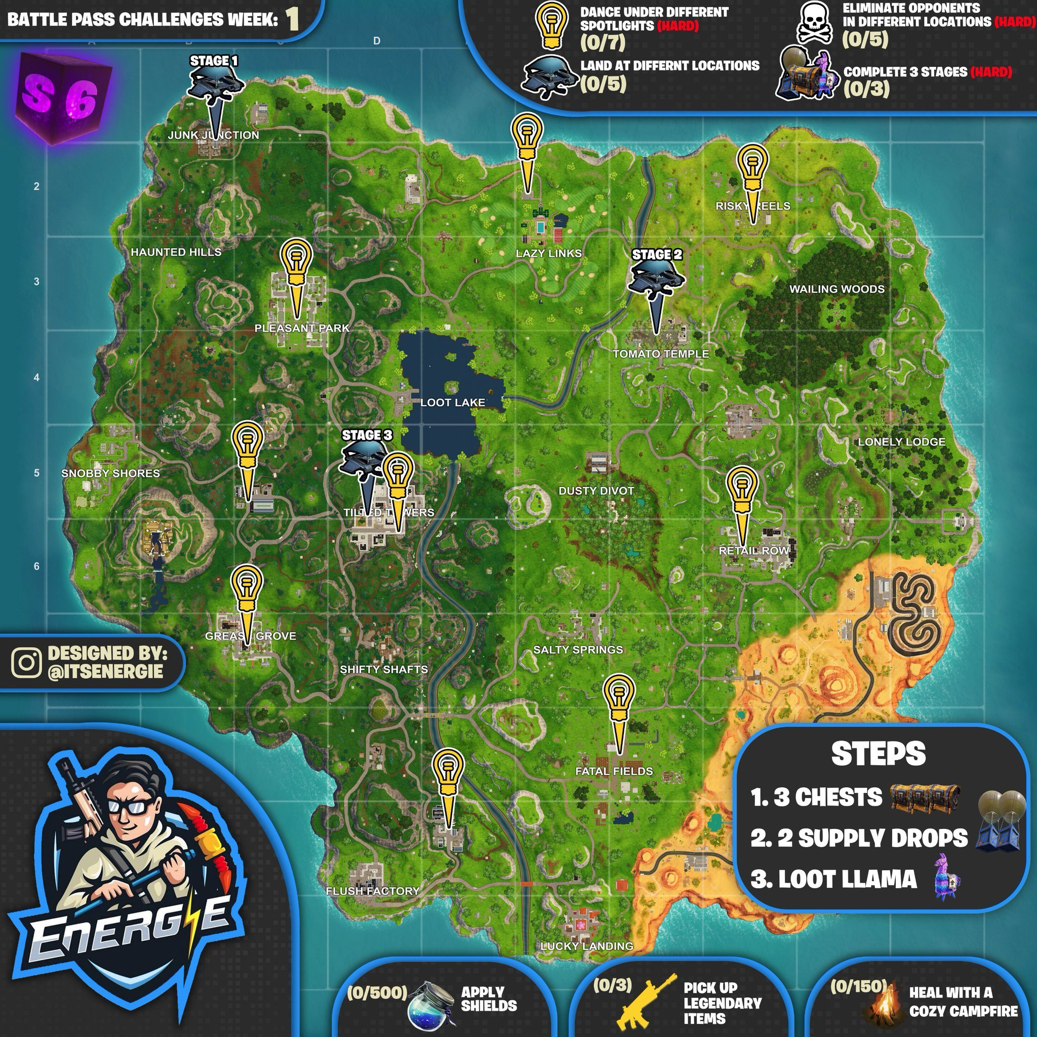 Fortnite Cheat Sheet map for Season 6, Week 1