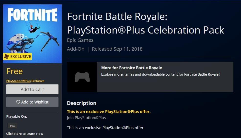 Fortnite battle royale ps celebration pack