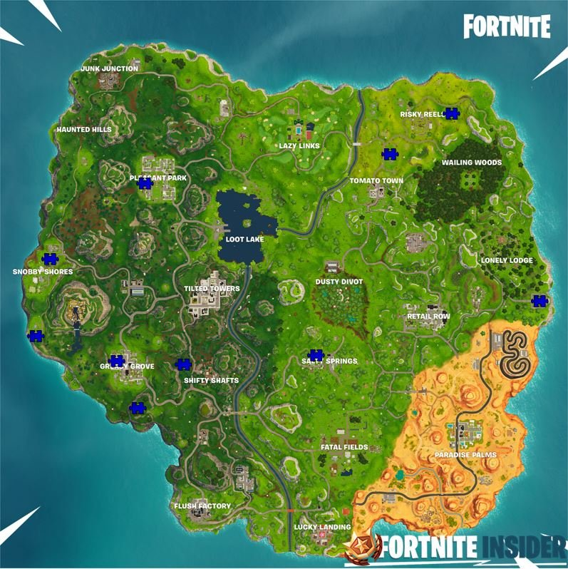 Jigsaw puzzle places on Fortnite map