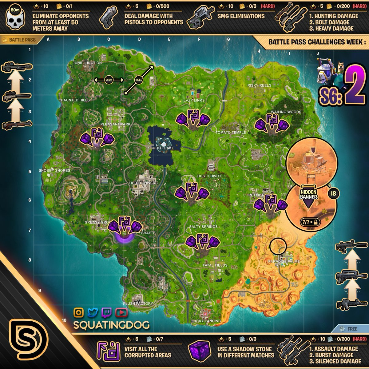 Cheat sheet fortnite season 6 week 2 challenges