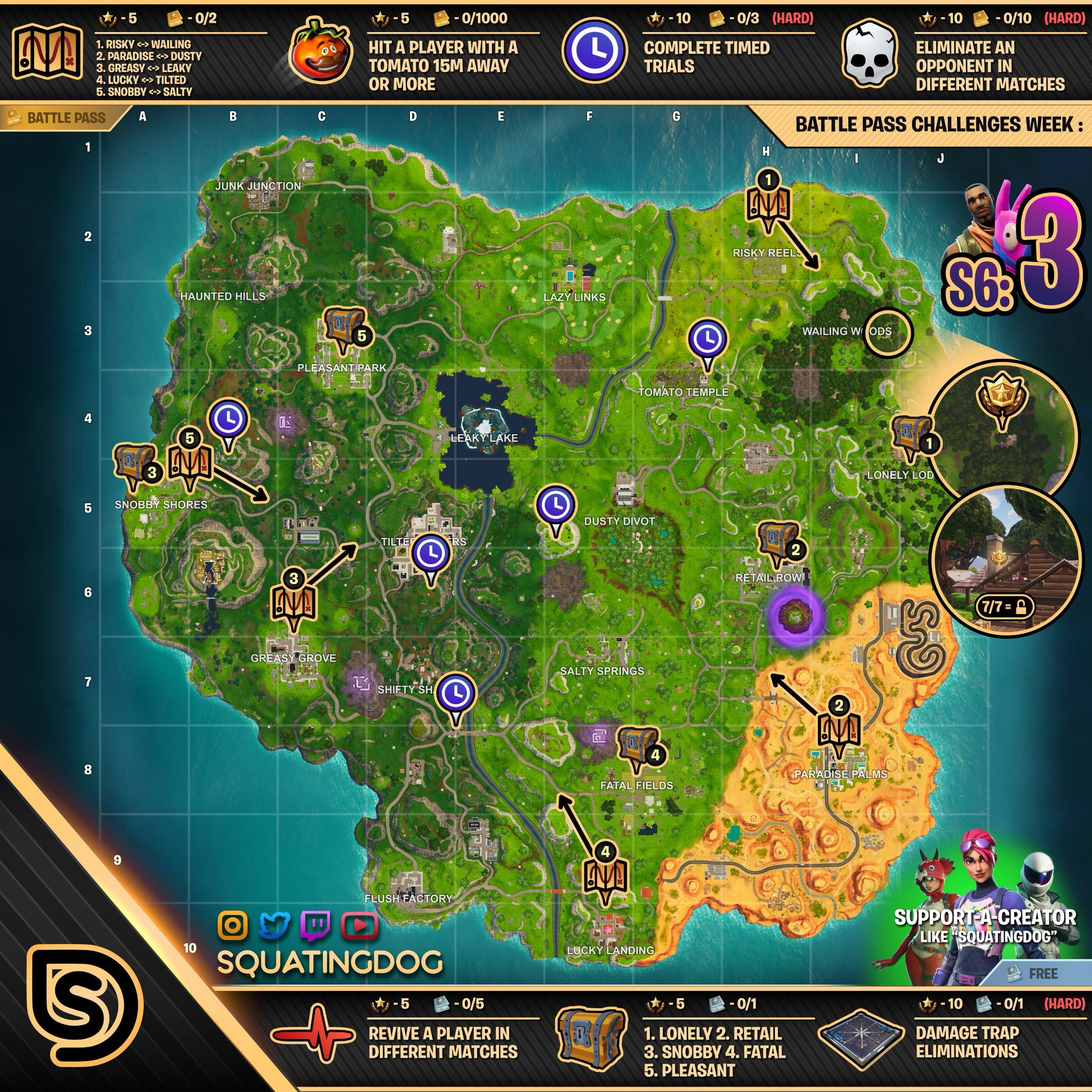 Cheat Sheet Map For Fortnite Season 6 Week 3 Challenges Fortnite