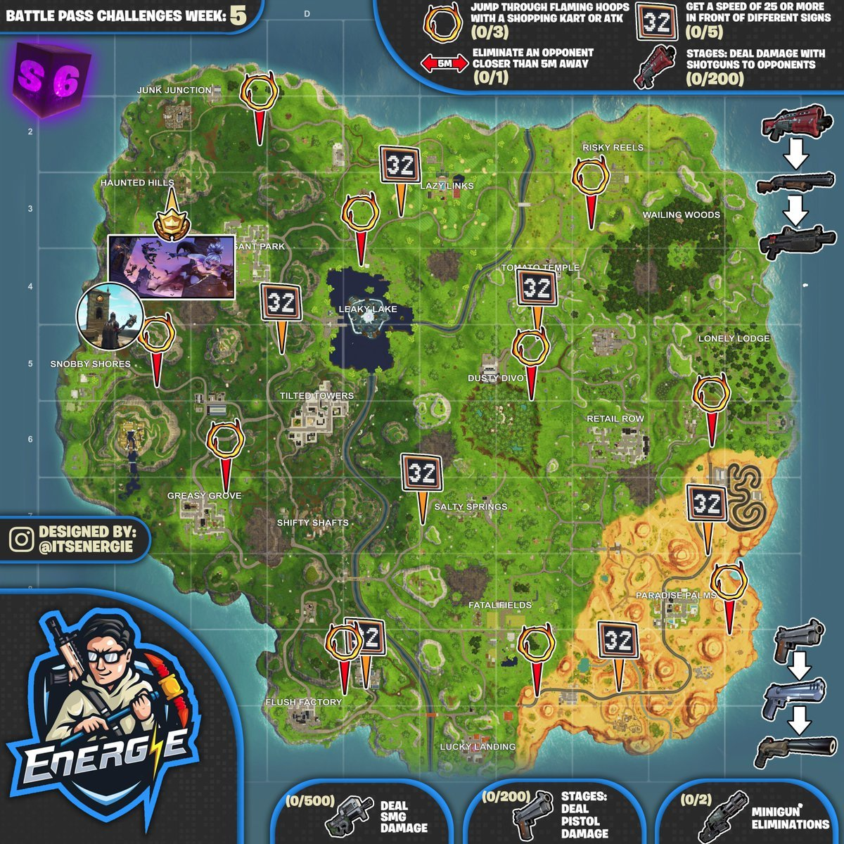 Cheat Sheet Map For Fortnite Battle Royale Season 6 Week 5