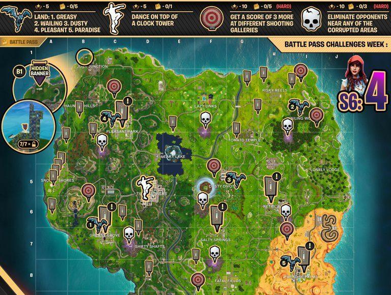 Season 6 week 4 challenges cheat sheet fortnite map