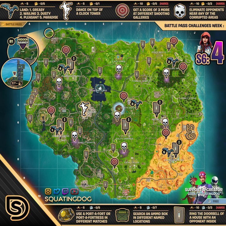 Season 6 week 4 challenges cheat sheet fortnite map