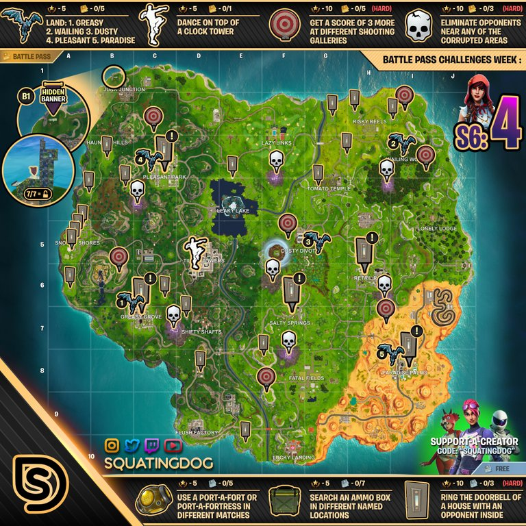 season 6 week 4 challenges cheat sheet fortnite map - season 7 fortnite mappa