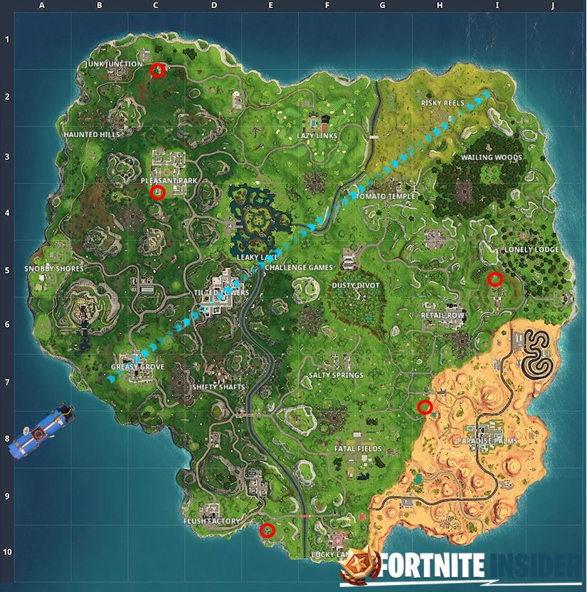 Fortnite Carnival Clown Locations on the Map