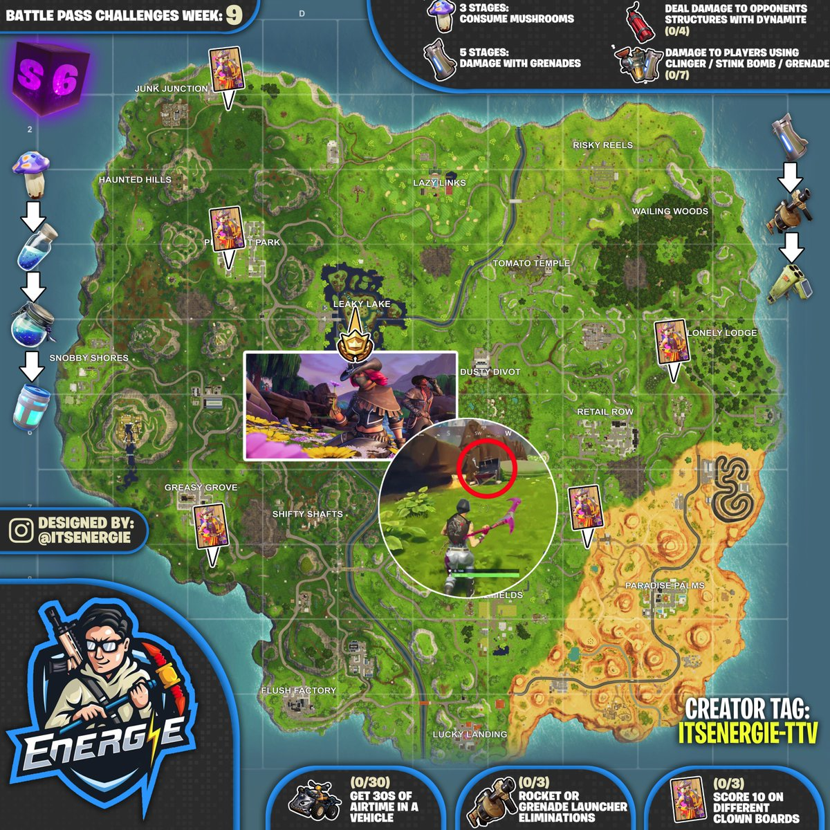 Season 6 Week 9 Fortnite Challenges Cheat Sheet Map Fortnite Insider