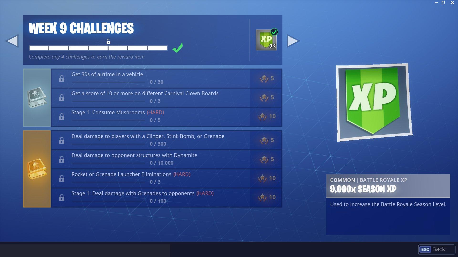 Fortnite Challenges Season 6 Week 9