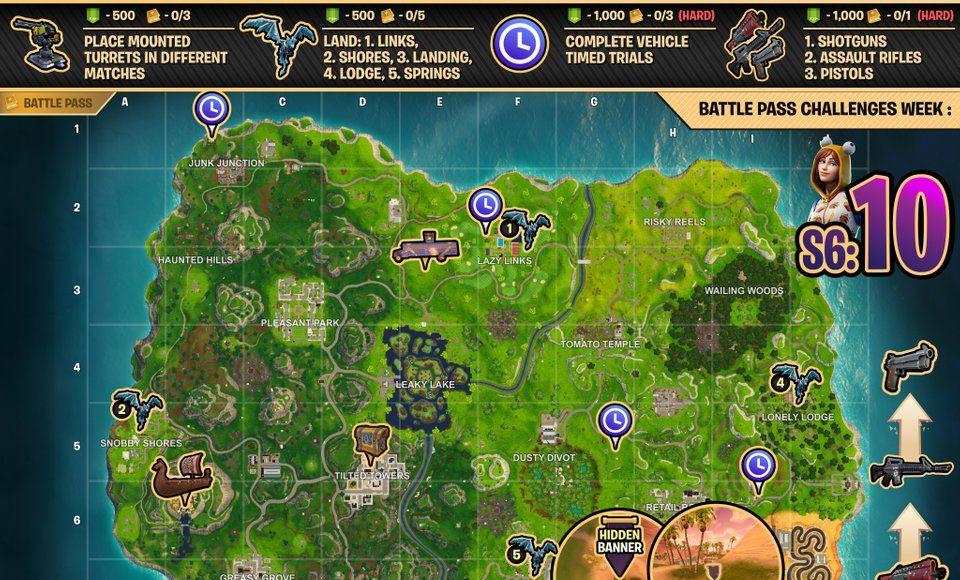 Fortnite Cheat Sheet Map Season 6 week 10