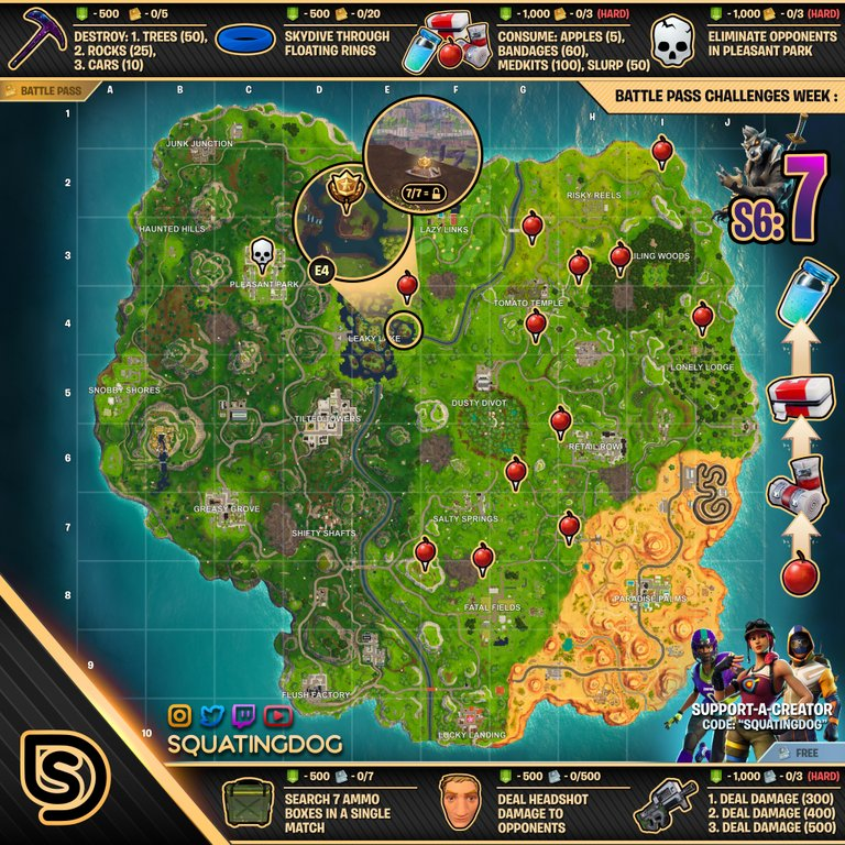 Cheat Sheet Map For Fortnite Battle Royale Season 6 Week 7