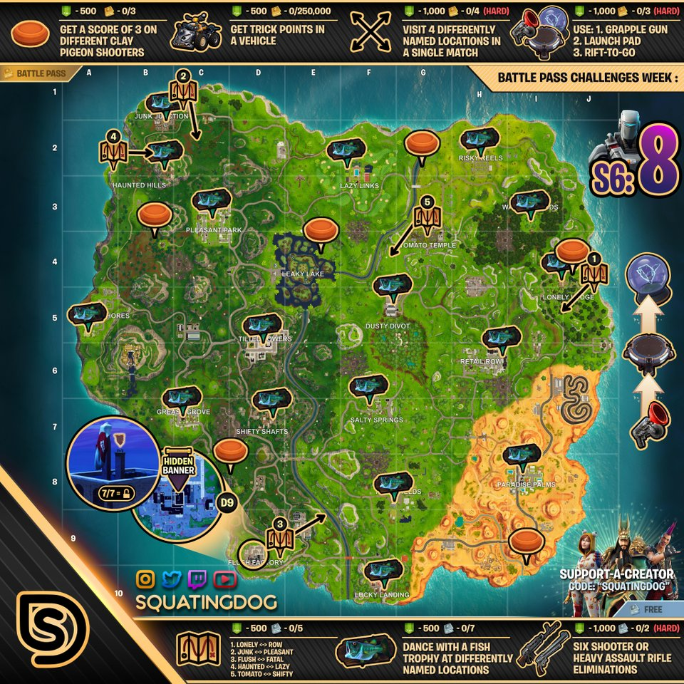 fortnite season 6 week 8 cheat sheet map - mapa de fortnite temporada 2