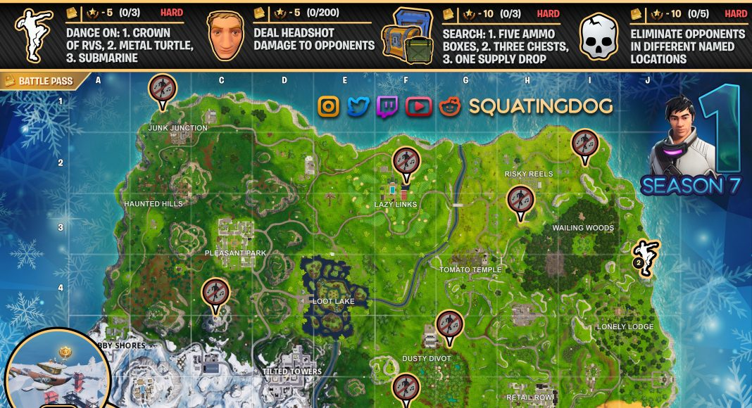 Fortnite Cheat Sheet Map Season 7 Week 1 Challenges