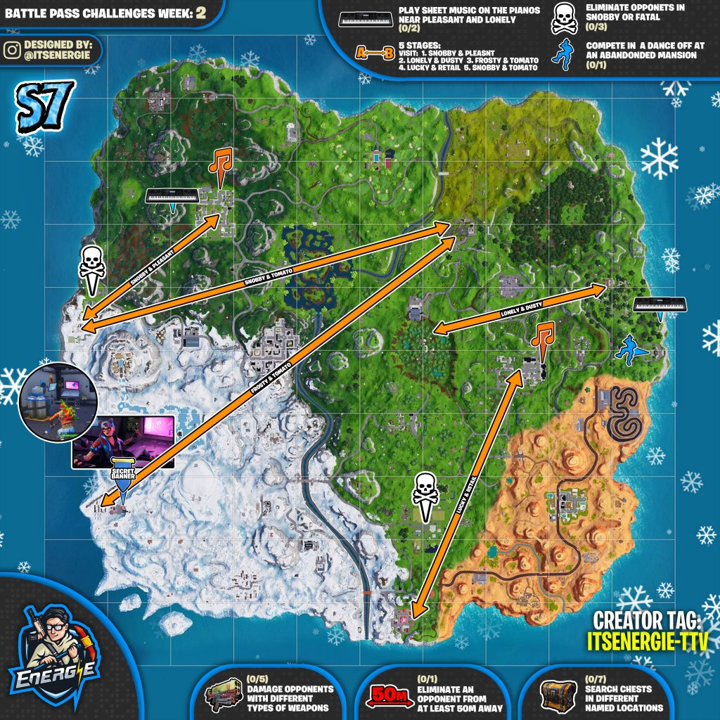 Fortnite Cheat Sheet Map For Season 7, Week 2 Challenges