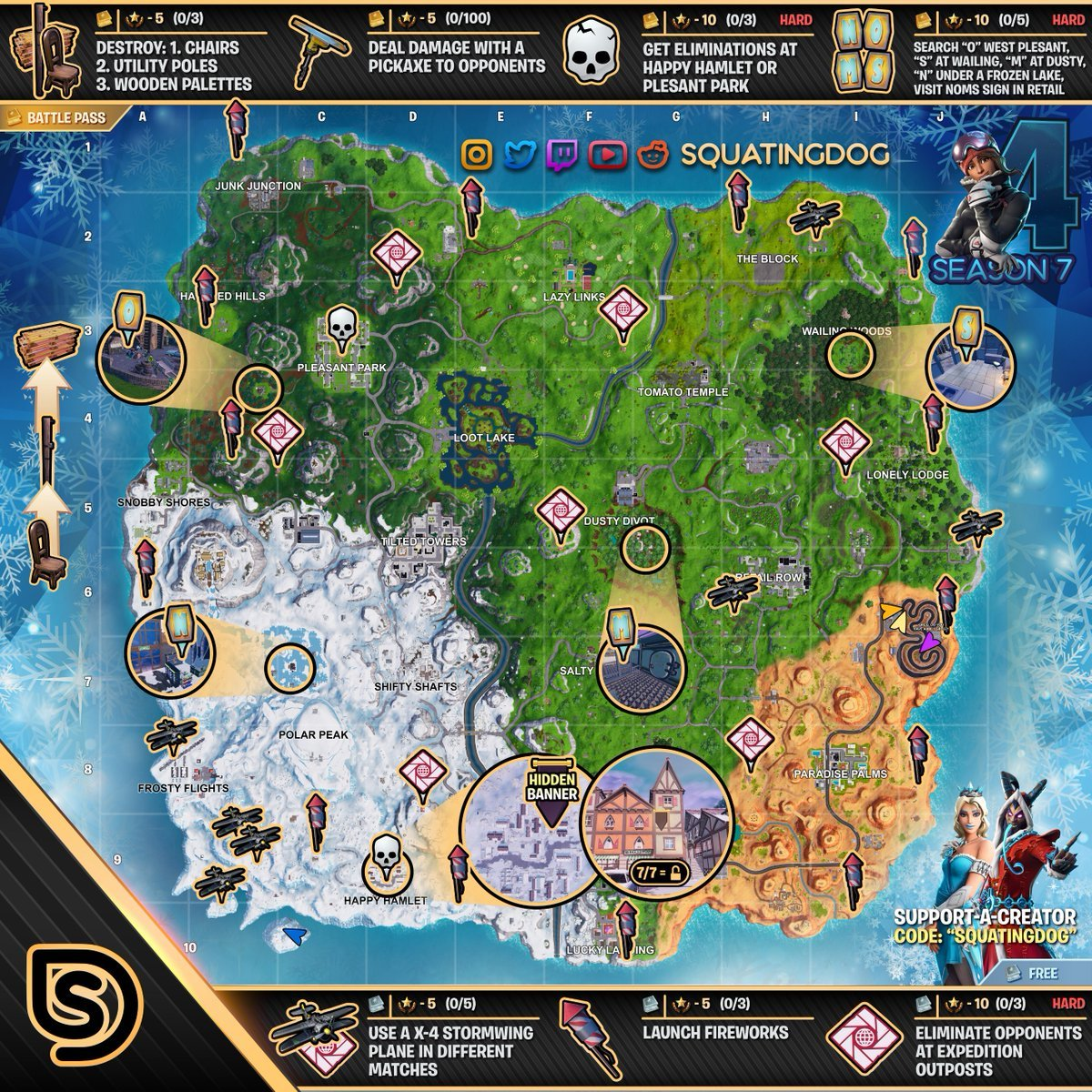 Fortnite Cheat Sheet Map For Season 7 Week 4 Challenges Fortnite